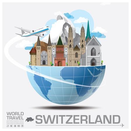 スイス連邦共和国のランドマークの世界旅行と旅インフォ グラフィック ベクトルのデザイン テンプレート  イラスト・ベクター素材