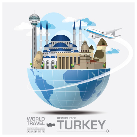 turkey: Turqu�a Landmark Global Travel And Viaje Infograf�a vector plantilla de dise�o Vectores