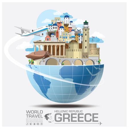 Grèce Haut-lieu touristique mondiale Voyage et Voyage Infographic Vector Design Template Illustration