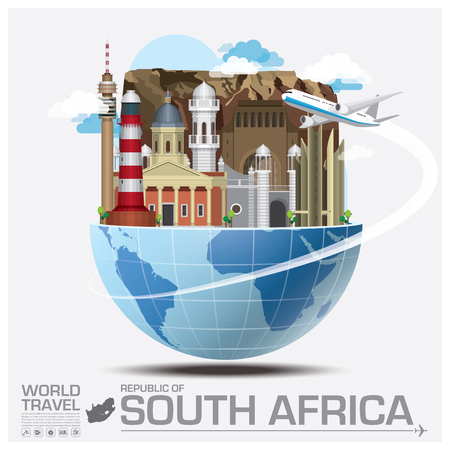 illustration journey: South Africa Landmark Global Travel And Journey Infographic Vector Design Template