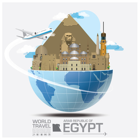 bandera egipto: Egipto Landmark Global Travel And Viaje Infograf�a vector plantilla de dise�o Vectores