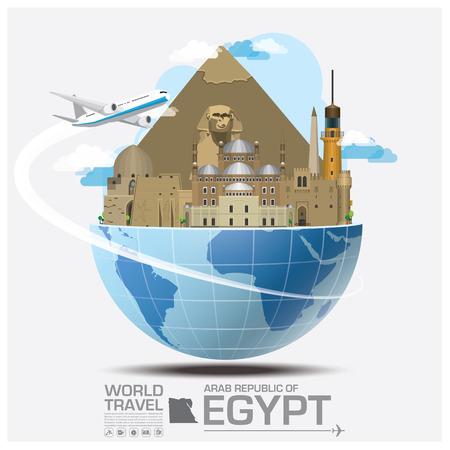 bandera de egipto: Egipto Landmark Global Travel And Viaje Infografía vector plantilla de diseño Vectores
