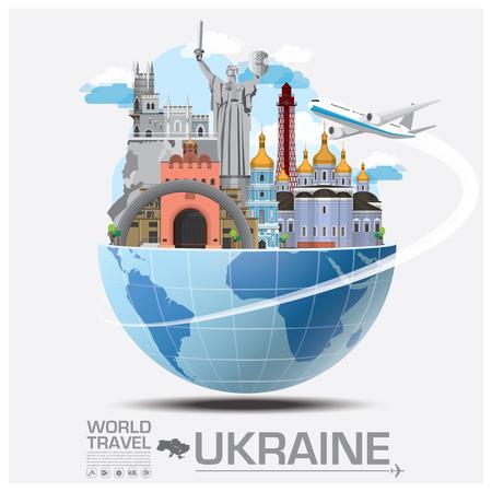 Ucrania viaje de la señal global y Viaje Infografía del diseño del vector