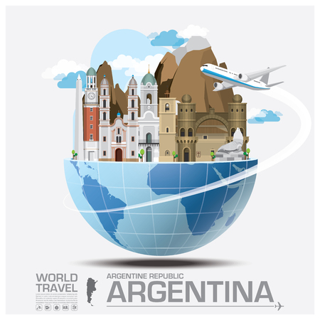 argentina flag: Argentina Landmark Global Travel And Journey Infographic Vector Design Template