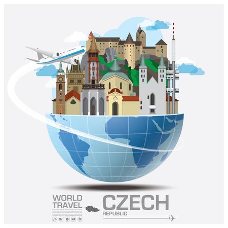 global design: Czech Landmark Global Travel And Journey Infographic Vector Design Template