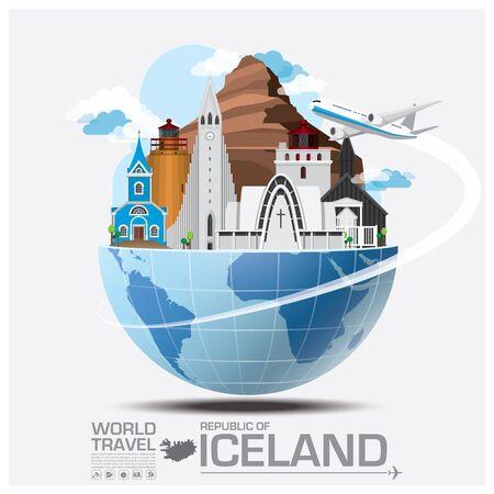 путешествие: Исландия Landmark Global Travel и путешествия инфографики Вектор шаблон дизайна Иллюстрация