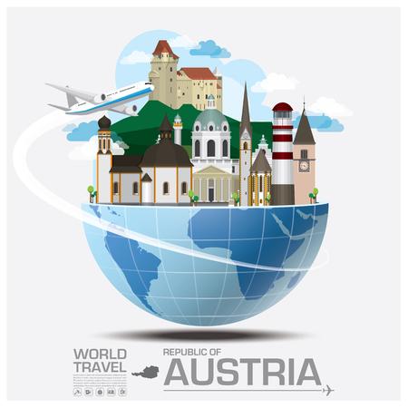 オーストリア ランドマーク世界旅行と旅インフォ グラフィック ベクトルのデザイン テンプレート