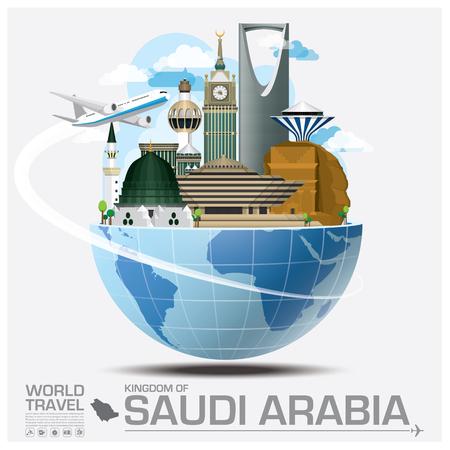 サウジアラビア王国ランドマーク世界旅行と旅インフォ グラフィック ベクトルのデザイン テンプレート  イラスト・ベクター素材