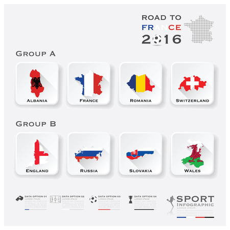 Road To France 2016 Football Tournament Sport Infographic Vector Design Template 일러스트