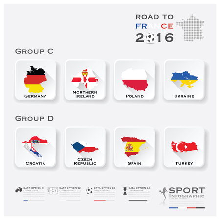 Road To France 2016 Football Tournament Sport Infographic Vector Design Template Illustration