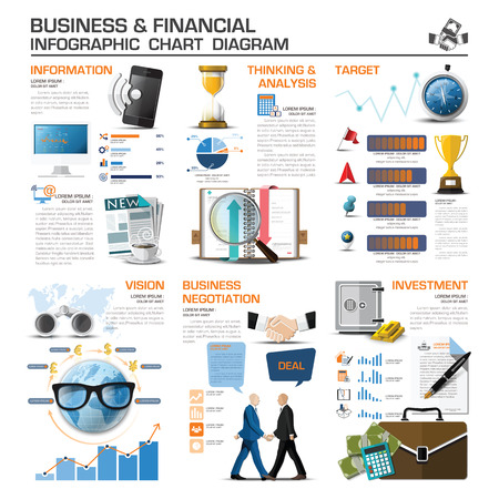 Business And Financial Infographic Chart Diagram Vector Design Template
