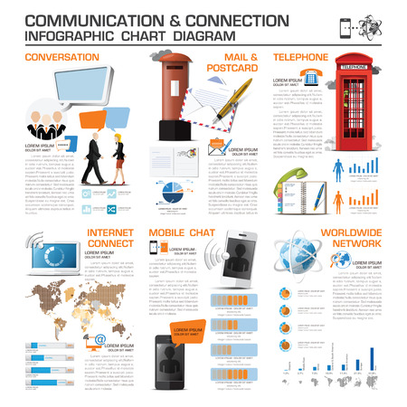 telephone booth: Communication And Connection Infographic Chart Diagram Vector Design Template