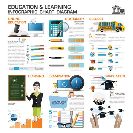 Education And Learning Infographic Chart Diagram Vector Design Template 일러스트