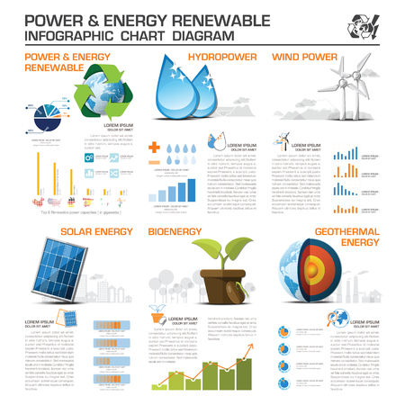 human energy: Power And Energy Renewable Infographic Chart Diagram Vector Design Template Illustration
