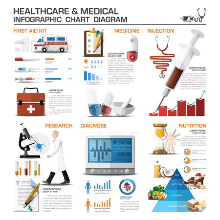 Healthcare And Medical Infographic Chart Diagram Vector Design Template