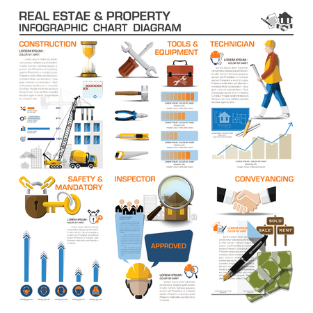 building inspector: Real Estate And Property Business Infographic Chart Diagram Vector Design Template