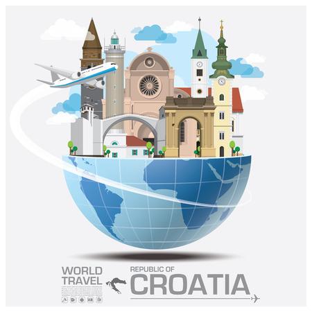Republic Of Croatia Landmark Global Travel And Journey Infographic Design Template