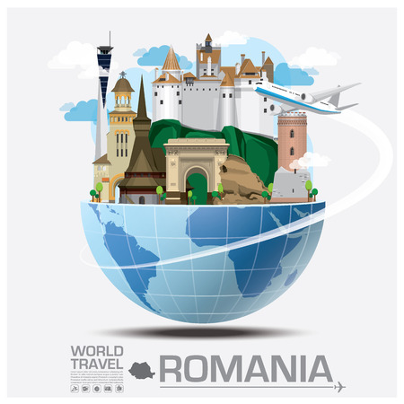 country church: Romania Landmark Global Travel And Journey Infographic Design Template