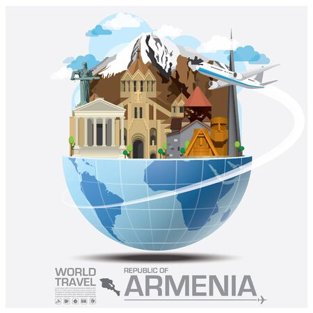 map of armenia: Republic Of Armenia Landmark Global Travel And Journey Infographic Design Template Illustration