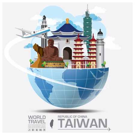 台湾中華民国ランドマーク世界旅行と旅インフォ グラフィック デザイン テンプレート  イラスト・ベクター素材