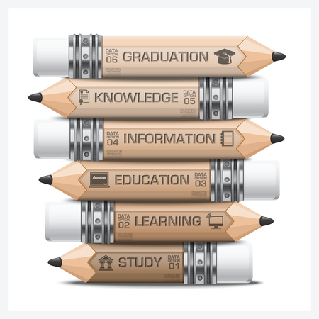 Education And Learning Infographic With Tag Step Pencil Diagram Design Template 일러스트