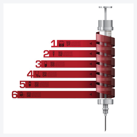 Healthcare And Medical With Syringe Spiral Tag Infographic Diagram Design Template