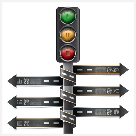 road and street with traffic light sign spiral arrow tag infographic