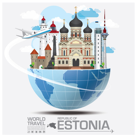 Republic Of Estonia Landmark Global Travel And Journey Infographic Vector Design Template 일러스트