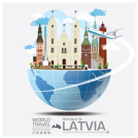 Republic Of Latvia Landmark Global Travel And Journey Infographic Vector Design Template