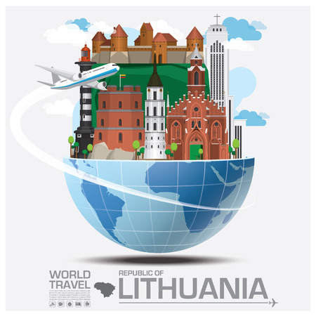 Republic Of Lithuania Landmark Global Travel And Journey Infographic Vector Design Template