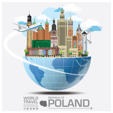 Republic Of Poland Landmark Global Travel And Journey Infographic Vector Design Template 일러스트