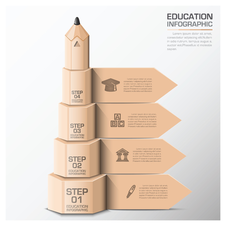 Education And Learning Infographic With Step Of Pencil Vector Design Template 向量圖像