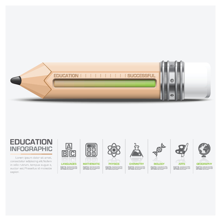 Education And Learning Infographic With Scale Pencil Vector Design Template