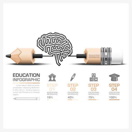 Education And Learning Step Infographic With Carve Brain Shape Pencil Lead Vector Design Template
