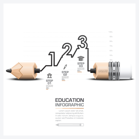 Education And Learning Infographic With Carve Step Pencil Lead Vector Design Template 일러스트