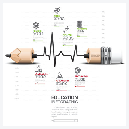 Education And Learning Step Infographic With Pulse Line Graph Pencil Lead Vector Design Template