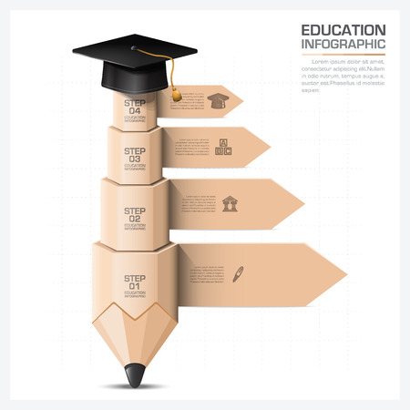 Education And Learning Infographic With Step Of Pencil Element Vector Design Template 일러스트