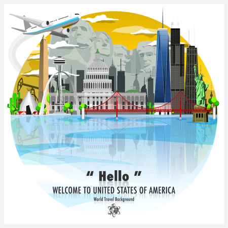 United States Of America Landmark Travel And Journey Background Vector Design Template