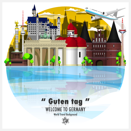Federal Republic of Germany Landmark Global Travel And Journey Background Vector Design Template 일러스트