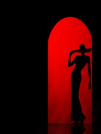silhouette of the girl on a red background in the arch photo