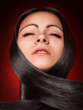 Hot brunette girl with straight hair Stock Photo - 17497270