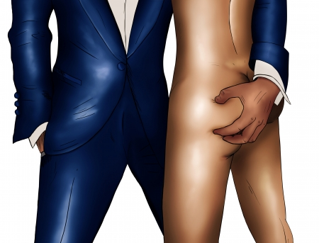 Comics drawing of elegance man in suit and naked woman on white background photo