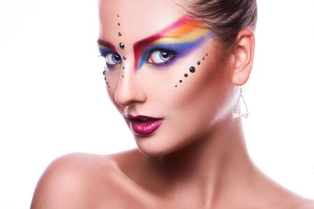 pretty woman with colorful makeup  photo