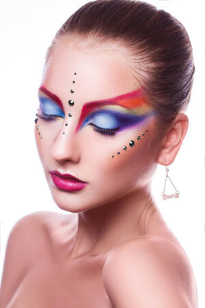 female with multicolor makeup  photo