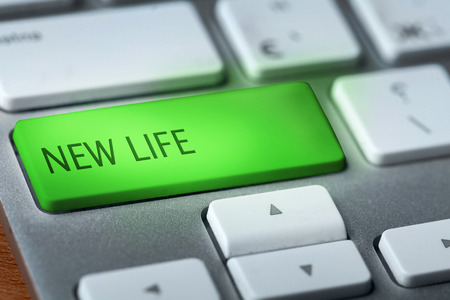 key words  art: new life on keyboard Stock Photo