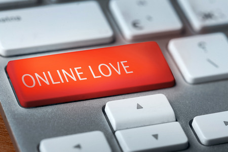 key words  art: online love on keyboaard Stock Photo