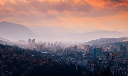 herzegovina: Sarajevo. Bosnia & Herzegovina. Sunset
