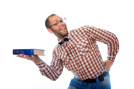 classbook: adult male hipster presents a book and smiling on white background Stock Photo