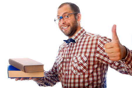 classbook: Fun adult guy shows that books its awesome on white background