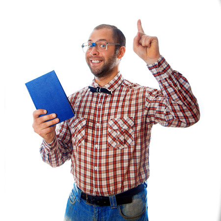 classbook: nerd shows that books are very important in our lives on white background Stock Photo